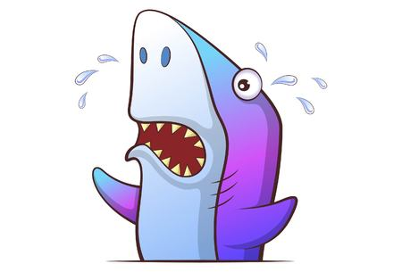 Vector cartoon illustration of cute shark crying,. Isolated on white background. 向量圖像