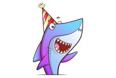 Vector cartoon illustration of cute shark wearing birthday cap. Isolated on white background.