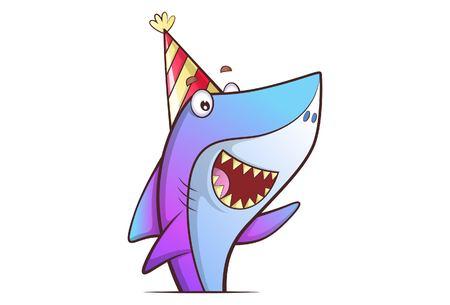 Vektorkarikaturillustration des netten Hais, der Geburtstagskappe trägt. Isoliert auf weißem Hintergrund.