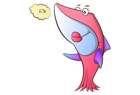 Vector cartoon illustration of cute shark with pout. Isolated on white background. 일러스트