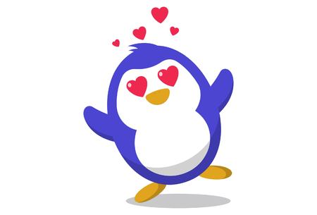Vector cartoon illustration. Cute penguin in love. Isolated on white background.