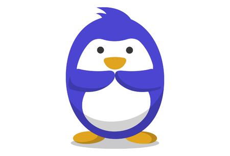 Vector cartoon illustration. Cute penguin with greet hand. Isolated on white background. Stock Illustratie