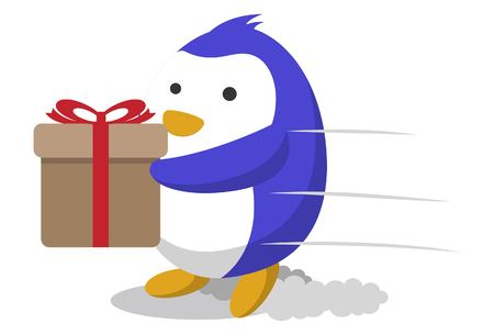 Vector cartoon illustration. Cute penguin with gift box. Isolated on white background.