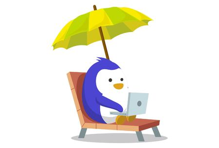 Vector cartoon illustration. Cute penguin working on laptop. Isolated on white background.