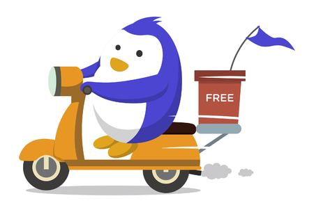 Vector cartoon illustration. Cute penguin is driving scooter. Isolated on white background.