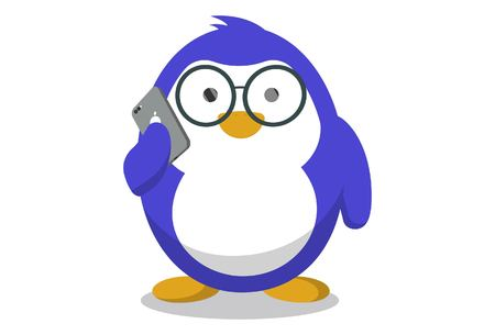 Vector cartoon illustration. Cute penguin wearing glasses and talking on phone. Isolated on white background.