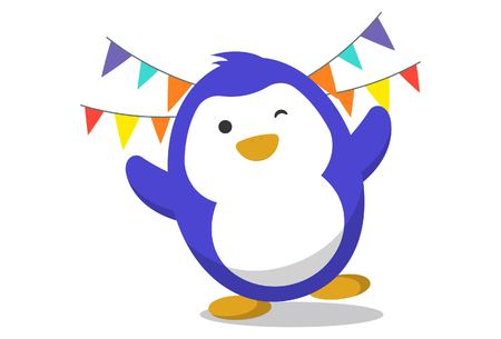 Vector cartoon illustration. Cute penguin with decorations. Isolated on white background.