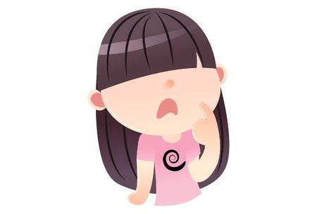 Vector cartoon illustration. Cute chinese girl thinking. Isolated on white background. Illustration