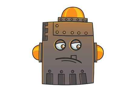 Cute Robot is very upset. Vector Illustration. Isolated on white background.