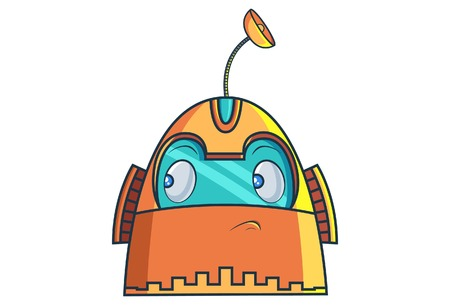 Cute Robot thinking. Vector Illustration. Isolated on white background.