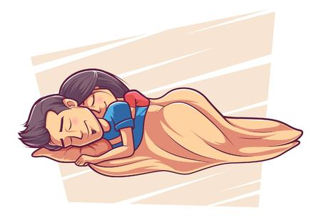 Cute couple is sleeping . Vector cartoon illustration. Isolated on a white background. Foto de archivo - 117399194