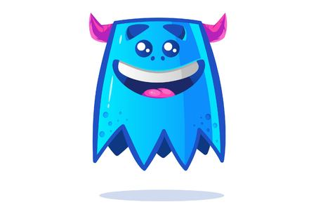 Cute blue monster happy. Vector cartoon illustration. Isolated on white background. Banque d'images - 117399387