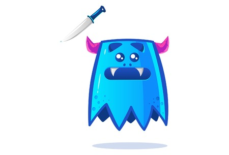 Cute blue monster with knife. Vector cartoon illustration. Isolated on white background. Banque d'images - 117399388