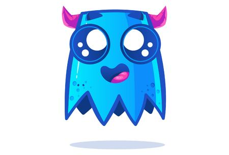 Cute blue monster is scared. Vector cartoon illustration. Isolated on white background. Banque d'images - 117399389