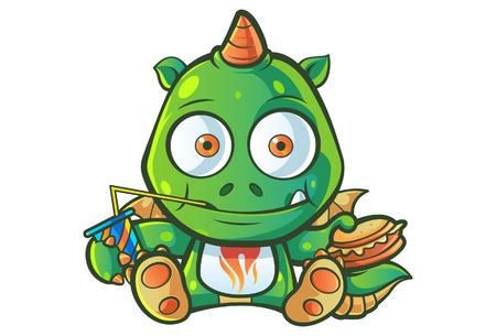 Vector cartoon illustration of cute baby dragon is sitting and holding burger in hand. Isolated on white background.