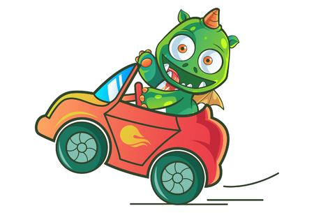 Vector cartoon illustration of cute baby dragon riding on car. Isolated on white background.