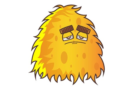 Vector cartoon illustration. Cute yellow monster is sad. Isolated on white background.