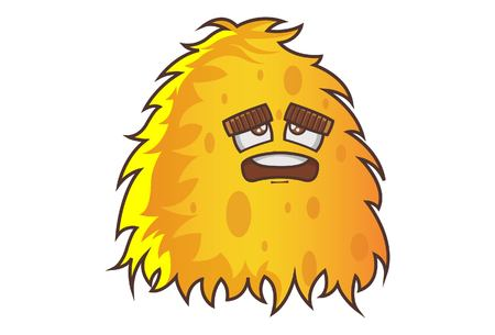 Vector cartoon illustration . Cute yellow monster is unhappy. Isolated on white background.