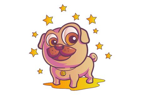 Vector cartoon illustration. Cute pug with stars. Isolated on white background.