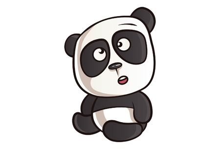 Vector cartoon illustration of cute panda is thinking. Isolated On white background.