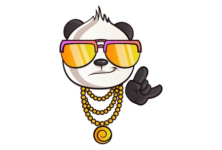 Vector cartoon illustration of cute panda's thug life. Isolated On white background.