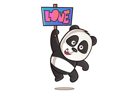 Vector cartoon illustration of cute panda with love note. Isolated on white background. Ilustracja