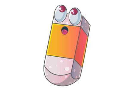 Vector cartoon illustration of cute eraser is thinking. Isolated on white background.