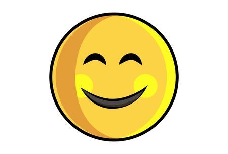 Ilustración de dibujos animados vector de emoji sonriente lindo es feliz. Aislado sobre fondo blanco.