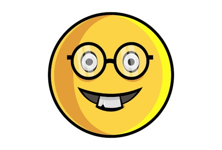 Vector cartoon illustration of cute smiley emoji wearing glasses. Isolated on white background.