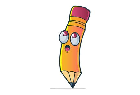 Vector cartoon illustration. Cute pencil thinking deeply. Isolated on white background.