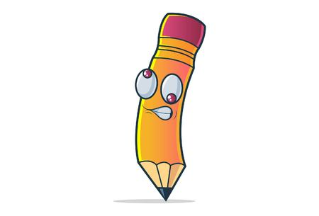 Vector cartoon illustration of cute pencil confused. Isolated on white background.