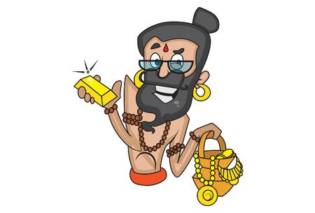 Vector cartoon illustration of cute data baba with gold accessories. Isolated on white background.