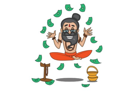 Vector cartoon illustration of cute data baba sitting in air and money flying in air. Isolated on white background.