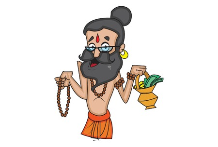 Vector cartoon illustration of cute data baba holding rudraksha mala and alms pot in hand. Isolated on white background. Ilustração