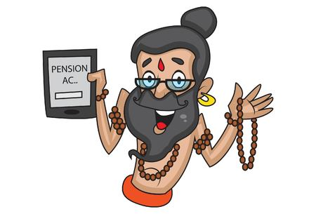 Vector cartoon illustration of cute data baba showing pension account. Isolated on white background.