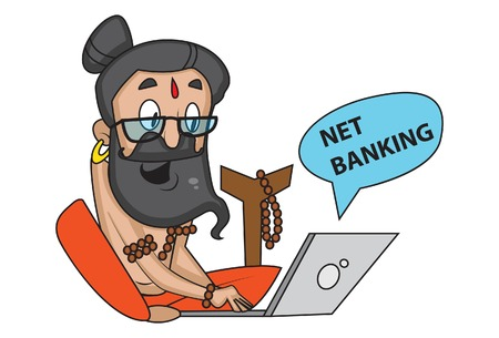 Vector cartoon illustration of cute data baba doing net banking. Isolated on white background. Illustration