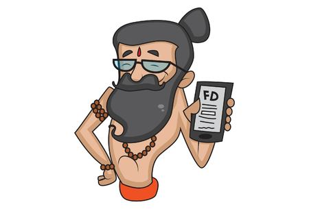 Vector cartoon illustration of cute data baba show fd on phone. Isolated on white background. Illustration