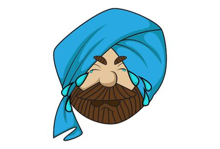 Vector cartoon illustration of cute sardar ji crying. Isolated on white background.