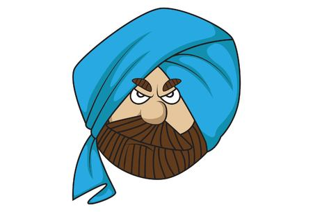 Vector cartoon illustration of cute sardar ji angry. Isolated on white background.