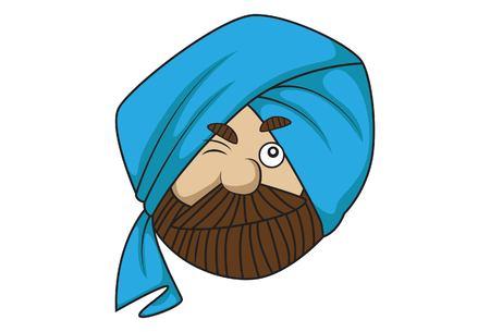 Vector cartoon illustration of cute sardar ji  winkling eye. Isolated on white background. Illustration