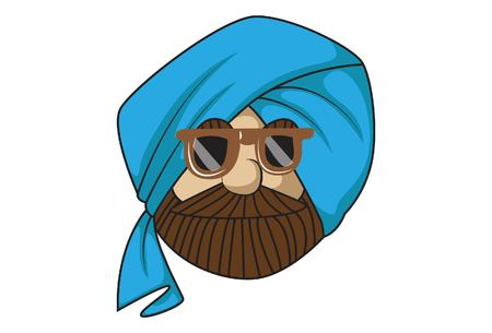 Vector cartoon illustration of cute sardar ji full of swag. Isolated on white background.