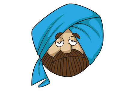 Vector cartoon illustration of cute sardar ji is tried. Isolated on white background.