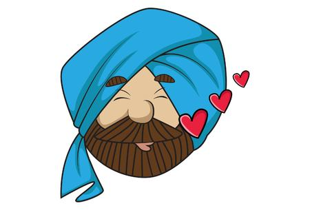 Vector cartoon illustration of cute sardar ji in love. Isolated on white background.