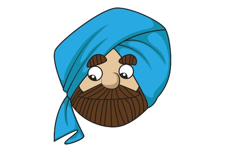 Vector cartoon illustration of cute sardar ji is sad. Isolated on white background.