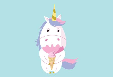 Vector cartoon illustration of cute unicorn eating ice cream. Isolated on blue background.
