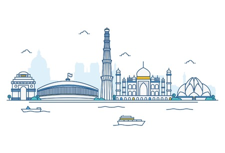 Vector cartoon illustration of India skyline. Isolated on white background.
