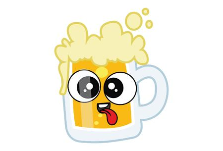Vector cartoon illustration of Beer cup teasing. Isolated on white background.  イラスト・ベクター素材