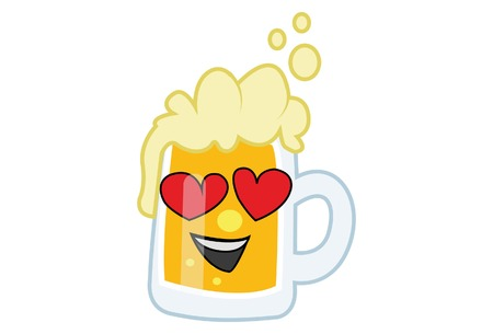 Vector cartoon illustration of Beer cup in love. Isolated on white background. Illusztráció