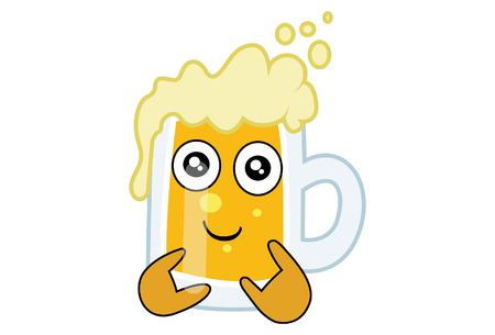 Vector cartoon illustration of Beer cup with a swag. Isolated on white background.