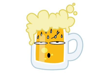 BasVector cartoon illustration of Beer cup annoyed. Isolated on white background.